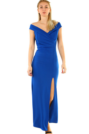 Long ladies' formal dress monochromatic close-fitting cut on the side of the slit wrapped V-neck short fallen sleeve with