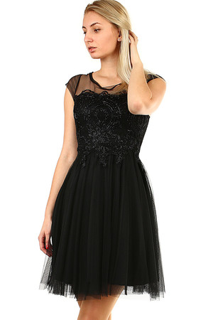 Luxury ladies' formal dress mesh neckline and sleeves part of the bra is reinforced lace embroidered bodice tulle layered