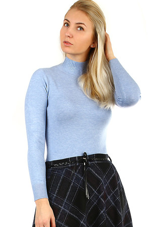 Lightweight women's sweater turtleneck normal length long sleeve pleasant elastic material monochromatic design ribbed cuffs,