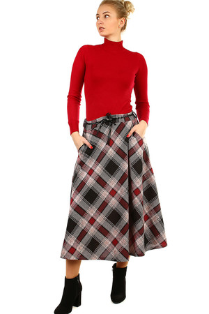 Warm elegant ladies skirt pleasant knit long extended cut with pockets checkered aging pattern color variant elastic waist
