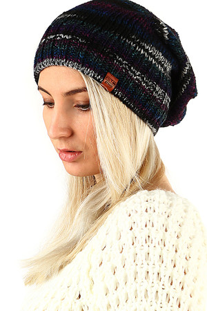Winter fallen cap soft soft knit in hip hop style color combination lined with fleece headband suitable for winter warm