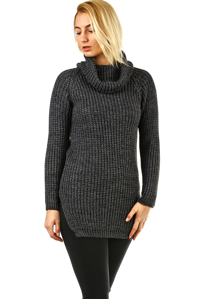 Longer sweater with turtleneck