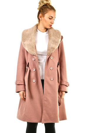 Women's fleece coat monochromatic design áčkový střih collar with removable fur button fastening side pockets with