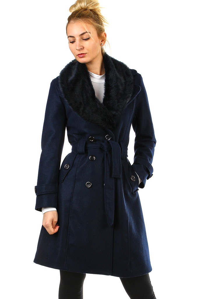 Fleece coat with fur collar