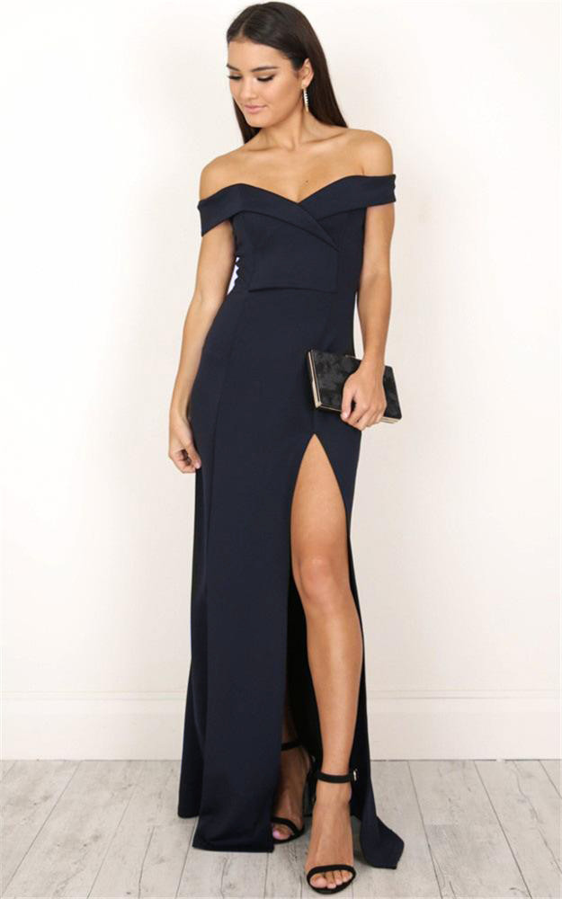 Gown with a slit