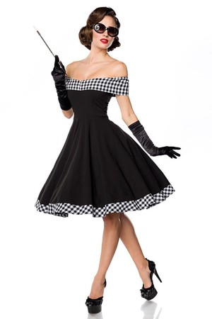 Retro party black dress very feminine close fitting top with a checkered collar that turns into a short sleeve bare shoulders
