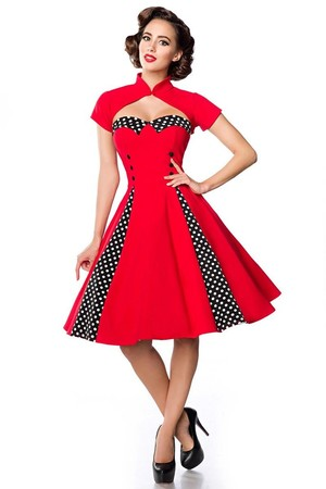 Women's dress in retro style with bolero without sleeves heart décolleté with polka dot collar decorative black buttons on