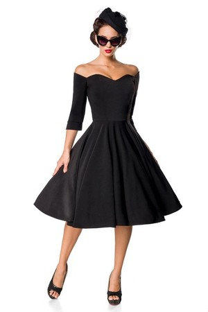 Elegant black formal dress Retro style 3/4 sleeve V-neckline of Carmen decorative strip that can be removed wheeled rich