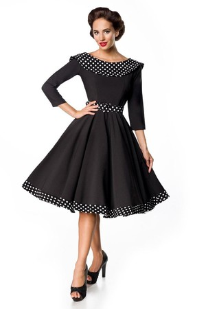 Women's black party dress in retro style round neck with polka dot collar back neckline deep V 3/4 sleeve removable