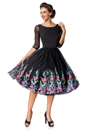 Formal black dress with tulle embroidered skirt round neckline 3/4 mesh sleeve layered skirt tulle skirt embroidered with