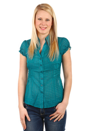 Women's blouse with short sleeves. Button fastening. Slightly draped sleeves and pleated fabric under chest. Slightly