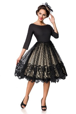 Party lace ladies dress luxury look Retro style boat booth 3/4 sleeve rich round skirt in double-layered appearance black