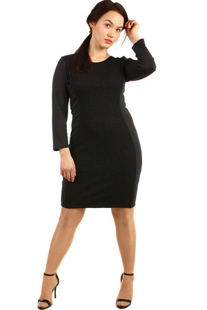 Women's black dress with lace classic sleek elegant cut round décolletage long sleeve lace shaped front part