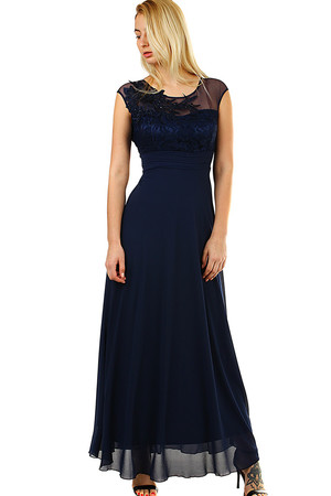 Chiffon Long Ladies Dress mesh neck material with rounded neck without sleeves front part decorated with floral embroidery