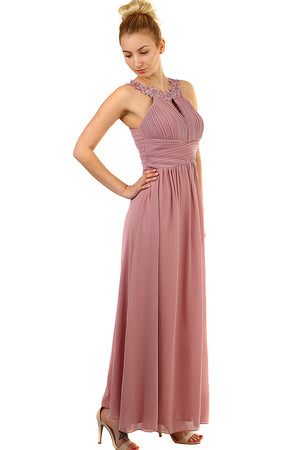 Long Chiffon Prom Dress round neck decorated with embroidered rose petals and beads reinforced décolleté in the