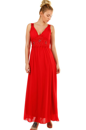 Ball long women's dress reinforced decollete, cut into deep V bodice decorated with floral lace and beads without sleeves