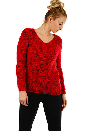Women's sweater monochrome knit medium length without fastening V-shaped décolletage soft, slightly bushy yarn suitable for