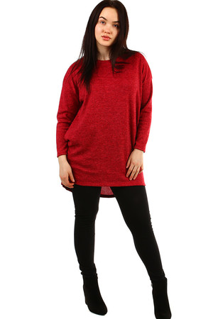 Oversized women's tunic made of knitted fabric monochrome, streaked round neckline long sleeve free comfortable cut 2
