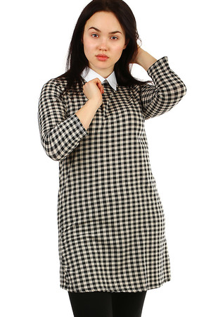 Elegant women's dress with white collar comfortable loose fit longer sleeve back cut with button fastening retro checkered