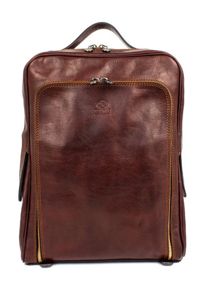 Genuine leather retro backpack Design Made of genuine veal leather reminiscent of the 1970s and futurism Vintage details