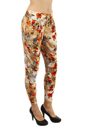 Interesting women's modern pants with pockets on the side. Upper part slightly enlarged. Material: 95% polyester, 5%