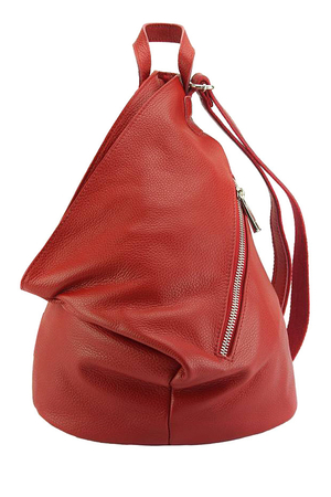 Unusual ladies urban backpack made of genuine leather original triangle shape main compartment with zipping and patent inside