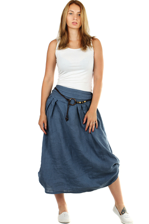 Women's natural linen skirt in two ways to wear elastic rubber is sewn at the waist for easy dressing removable decorative