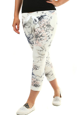 Women's cotton pants shortened leg length in white with a print of colorful flowers elastic waist and decorative ribbon 2