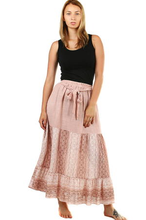Women's patterned maxi skirt elastic waist with rubber and fabric strap for tying A widening cut comfortable and airy on the