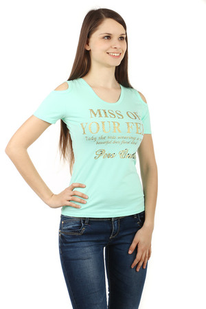 Women's cotton t-shirt with lettering and round neckline. Short sleeve. On shoulders refined cuts. Back neck effectively