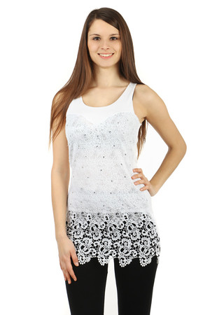 Women's tank top with lace and rhinestones. Back smooth. Front piece slightly longer than back. Material: 50% cotton, 50%