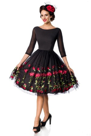 Vintage women's black luxury dress with embroidery of roses boat neckline 3/4 mesh sleeve layered rich round skirt tulle