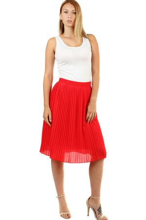 Summer pleated women's skirt in a midi length ageless classic length below the knee elastic rubber is sewn at the waist free