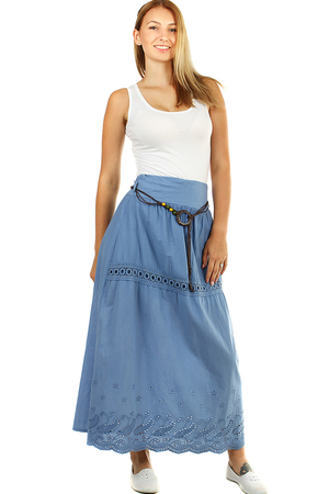 Romantic women's cotton skirt with lace and pattern monochromatic length max the waist is wider hem with elastic rubber a