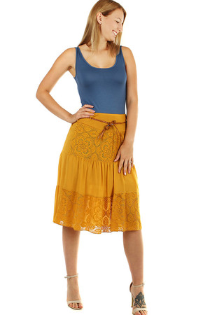 Women's romantic skirt with lace A-style modern cut length to the knees elastic waist with sewn rubber for maximum wearing