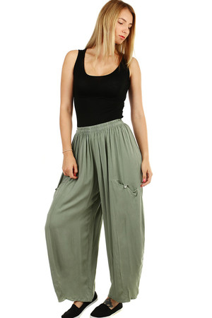 Women's wide harem airy summer pants monochromatic free comfortable cut wide cut leg elastic waist with sewn rubber adapts to