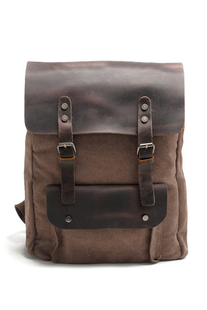 Large backpack in a combination of canvas and leather retro design material - thicker canvas supplemented with genuine