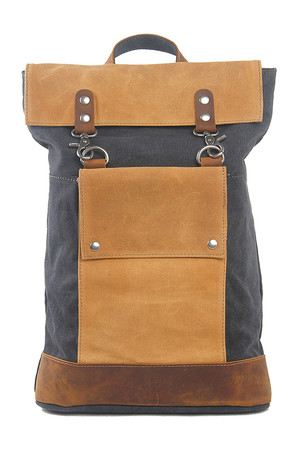 Canvas large backpack with leather details fashion retro design main compartment with zipping and flap with leather straps
