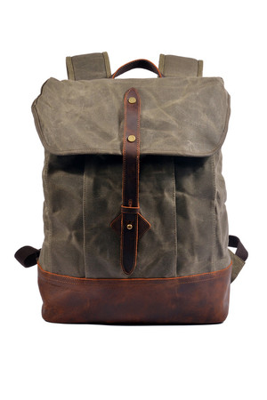 Large waterproof canvas backpack with leather details retro design main section with lapel and leather strap inside