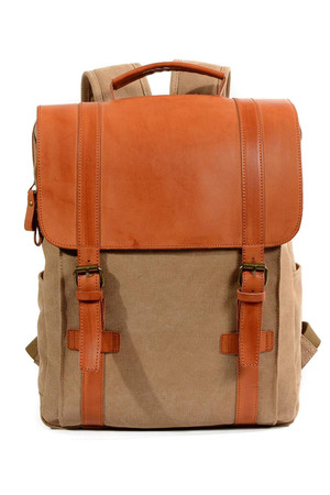 Spacious canvas vintage backpack with leather details main compartment with zip fastening and patents with leather flap and
