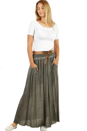 Long summer skirt with pockets and belt with batik effect. hide problem areas light airy fabric elastic waist 8 cm high -