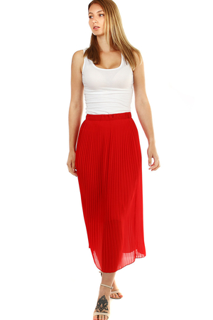 Elegant women's pleated maxi skirt. hide problem areas elastic waist 4 cm double layer skirt contains shorter petticoat