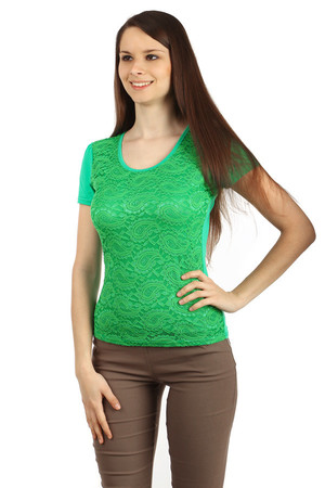 Women's elegant t-shirt with short sleeves. The lace front is lined with an opaque fabric. Back trim filled with lace