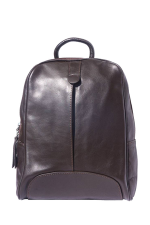 Women's monochrome backpack made of genuine soft leather. Made in Italy, it is thoroughly elaborated. Suitable for trips and