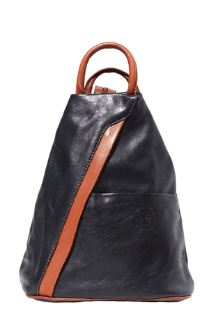Women's city leather backpack 2 in 1. the original shape of letter A backpack in 2-in-1 - can be worn classic or on one