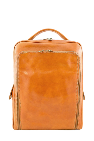 Leather Italian backpack in a classic timeless look. the main compartment is zipped in the interior is a single space to fit