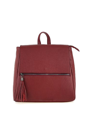 Women's urban leather backpack, designed for city travel. closing on the magnet and the main part is also zippered inside