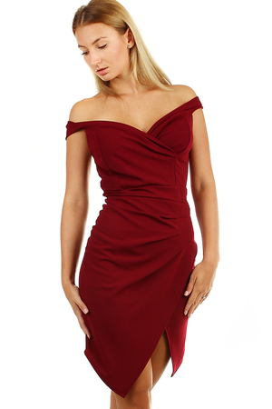 Short women's formal dress for a festive occasion. monochromatic close fit on the front part asymmetrical slit wrapped