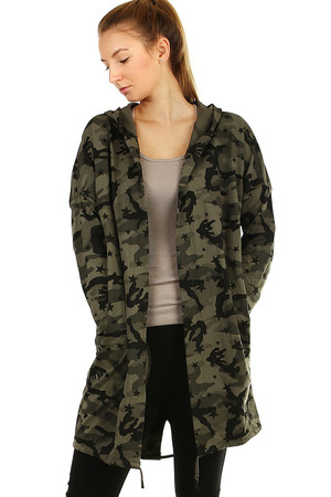 Cotton camouflage cardigan - jacket without fastening with small stars motif. soft, strong, comfortable to wear camouflage