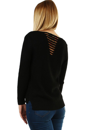 Ladies long-sleeved sweater with decorative V-shaped neckline at the back. monochromatic medium length V-shaped